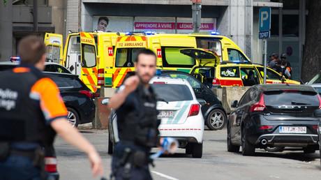 Rettungskräfte am Tatort im belgischen Lüttich, 29. Mai 2018