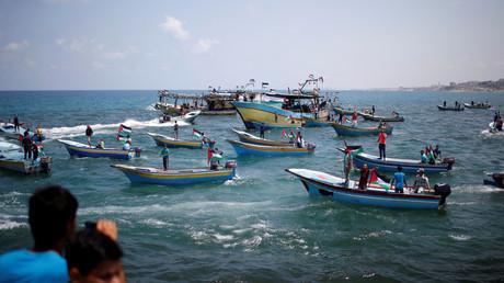 Palästinenser verlassen aus Protest gegen die Blockade Gaza-Stadt per Boot, 29. Mai 2018.