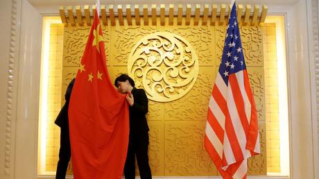 Vorbereitungen für ein Wirtschaftstreffen zwischen China und den USA, chinesisches Transportministerium, Peking, VR China, 27. April 2018.