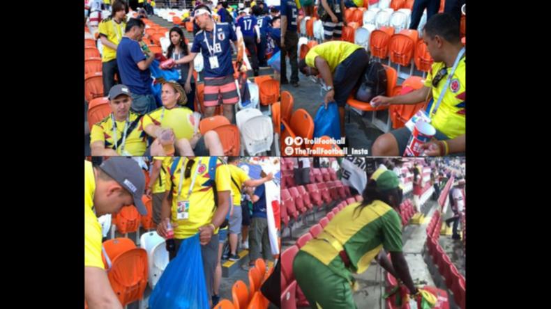Vorbildhafte Fußball-Fans: Senegalesische und japanische Fans sammeln nach Spielen Müll ein
