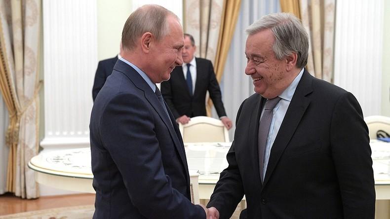 """UN-Generalsekretär zu Putin: """"Russland spielt einzigartige Rolle gegen die unipolare Weltordnung"""""""