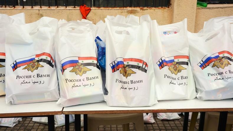 Russische Militärs verteilen 7,5 Tonnen humanitäre Hilfe in Ghuta