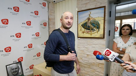 Babtschenko während eines Interviews mitMedien in Kiew, Ukraine 31. Mai 2018.