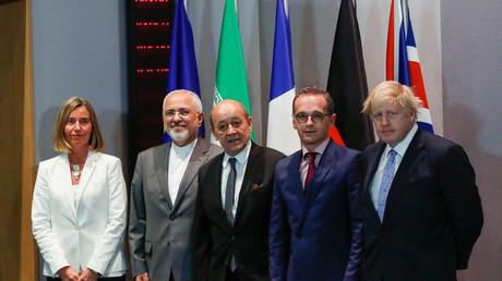 Federica Mogherini, Dschawad Sarif, Jean-Yves Le Drian, Heiko Maas, Boris Johnson, Brüssel, Belgien, 15. Mai 2018.
