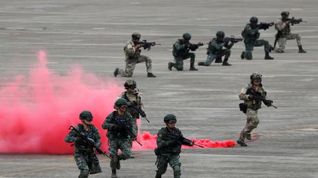 Taiwanesische Soldaten nehmen an den Han-Kuang-Manövern teil, Ching Chuan Kang Air Base in Taichung, Taiwan, 7. Juni 2018.