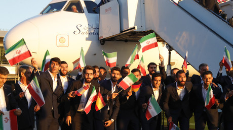 Das iranische Team nach der Ankunft in Moskau, Russland, 5. Juni 2018.