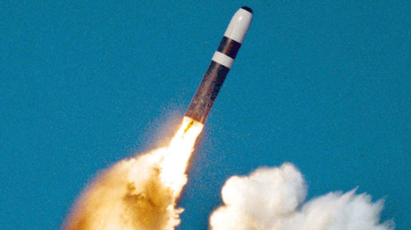 Symbolbild: Eine ballistische Interkontinentalrakete vom Typ UGM-133 Trident II