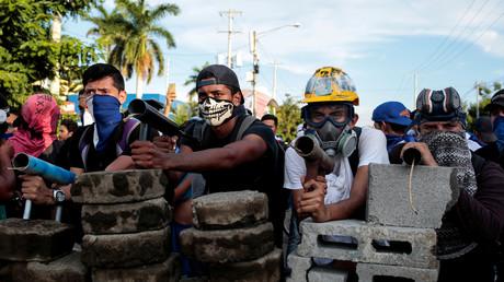 Demonstranten mit selbstgebauten Mörsern während eines Protestes gegen die Regierung des nicaraguanischen Präsidenten Daniel Ortega, Manuagua, 31. Mai 2018
