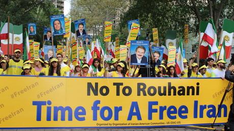 Demonstration vor dem UN-Hauptquartier in New York gegen die Präsenz von Vertretern der iranischen Regierung, 9. September 2017