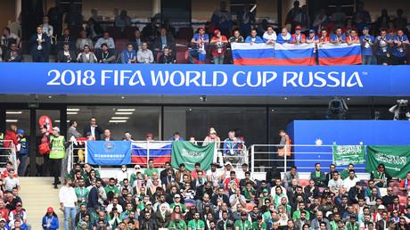 Russische und saudische Fans während des WM-Eröffnungsspiels in Moskau.