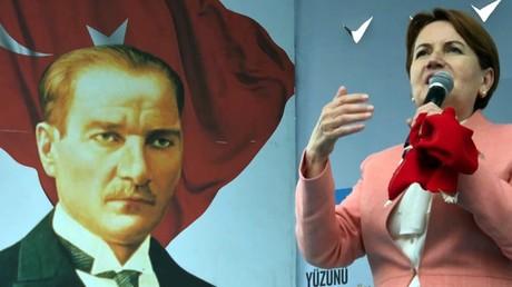 Unter dem strengen Blick von Kemal Atatürk führt Meral Akşener ihren Wahlkampf.