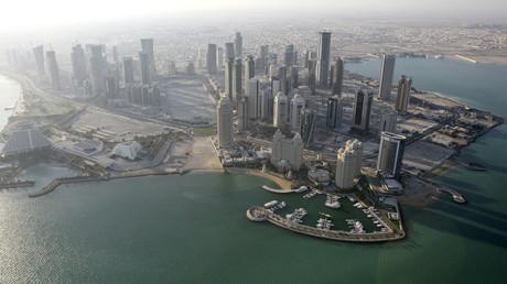 Eine Luftaufnahme der Skyline von Katar.