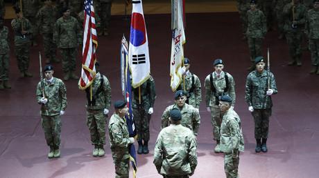 Eine Führungswechselzeremonie im Collier Fitness Center auf dem Camp Humphreys in Pyeongtaek am 5. Januar 2018.