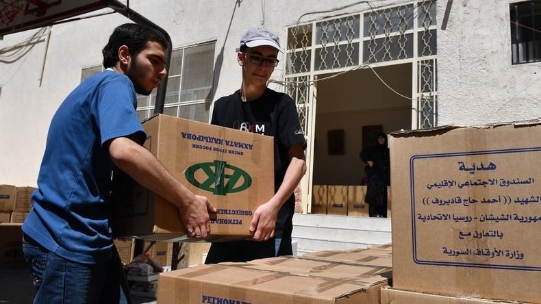 Syrien: Russische Kadyrow-Stiftung liefert tonnenweise zivile Hilfsgüter in Kriegsgebiete