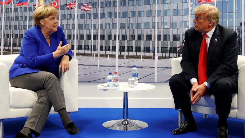 Neues aus der NATO-Anstalt: Nach Ausstiegs-Drohung versichert Trump Bündnistreue und lobt Merkel
