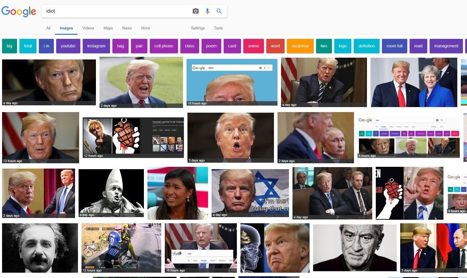 """Komplott von Trollen und Mainstream? Flashmob bringt Trumps Fotos bei """"idiot""""-Suche nach oben"""