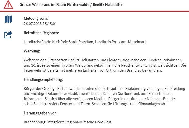 Großer Waldbrand im Raum Berlin-Brandenburg: A9 gesperrt - Evakuierung von Ortschaften vorbereitet