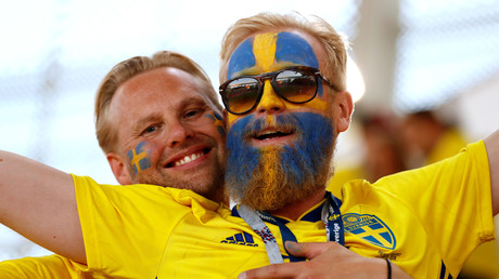 Schwedische Fußballfans in Russland, 27. Juni 2018.