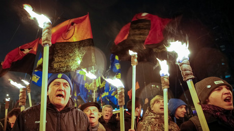 Swoboda-Aktivisten bei einem Fackellauf in Kiew am 29. Januar 2018.