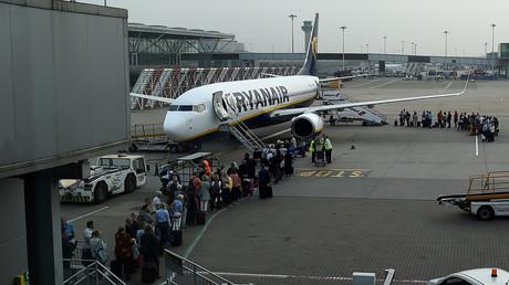 Ryanair-Flugzeug auf dem Flughafen Stansted