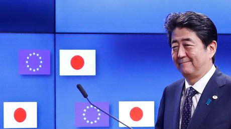 Der japanische Premierminister Shinzo Abe bei einer EU-Japan Konferenz in Brüssel, Belgien, 06. Juli 2017.