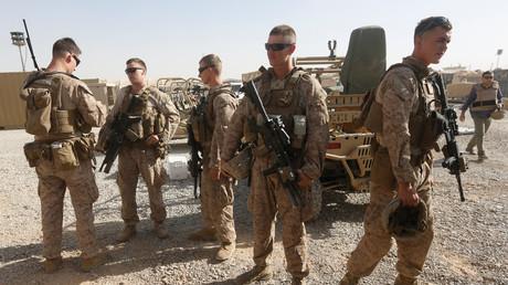 US-Marines bereiten sich auf ein gemeinsames Training mit Soldaten der afghanischen Nationalarmee (ANA) in der Provinz Helmand vor, Afghanistan, 6. Juli 2017.