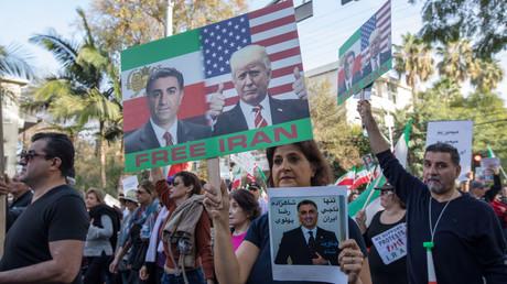 Exiliraner demonstrieren gegen ihre Regierung. Los Angeles, Kalifornien, USA 7. Januar 2018