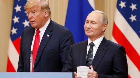 US-Präsident Donald Trump und der Präsident der Russischen Föderation, Wladimir Putin, während ihrer gemeinsamen Pressekonferenz in Helsinki
