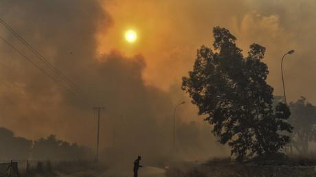 Bei Athen: Ein Feuerwehrmann im Kampf gegen die Flammen