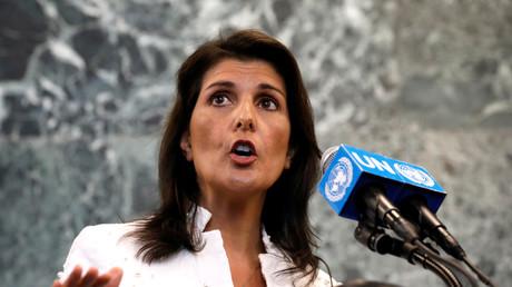 Die Botschafterin der Vereinigten Staaten bei den Vereinten Nationen Nikki Haley