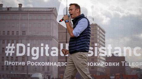 Alexei Nawalny nimmt an einer Kundgebung teil, um gegen die Entscheidung des Gerichts zu protestieren, die Chat-App Telegram zu blockieren, weil sie gegen die russischen Vorschriften verstößt, Moskau, Russland, 30. April 2018.