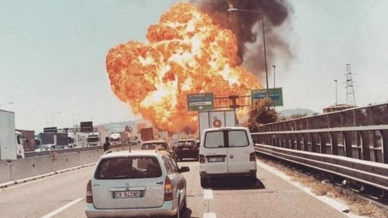 Große Explosion in der Nähe des Flughafens Bologna