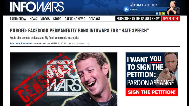 Redefreiheit war gestern: Social-Media-Aus für Alex Jones und infowars.com