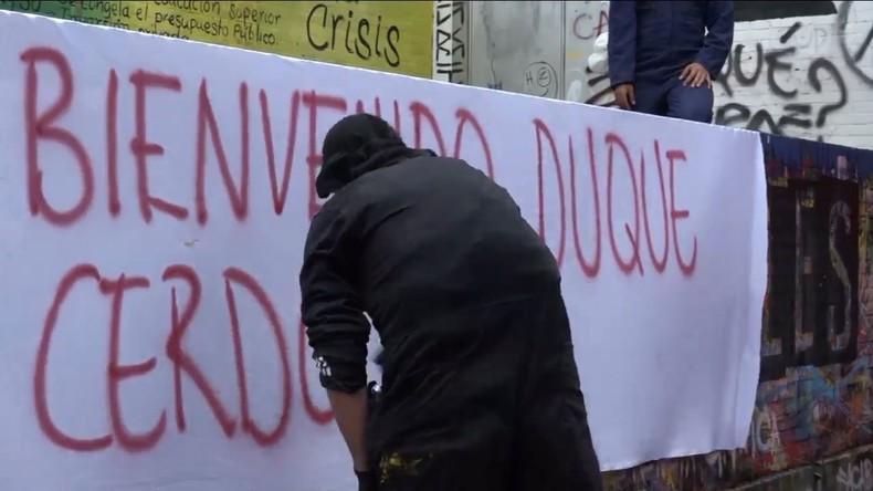 Kolumbien: Studenten demonstrieren in Bogota gegen jüngst angelobten Präsidenten Duque