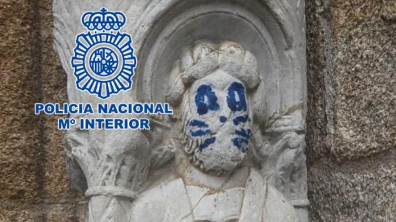 Katzengesicht steht nicht allen: Vandalen verunstalten mittelalterliche Heiligenstatue in Spanien