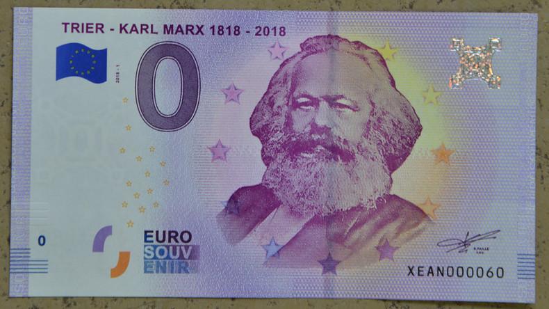 Null-Euro-Scheine mit Karl Marx werden zum Verkaufshit