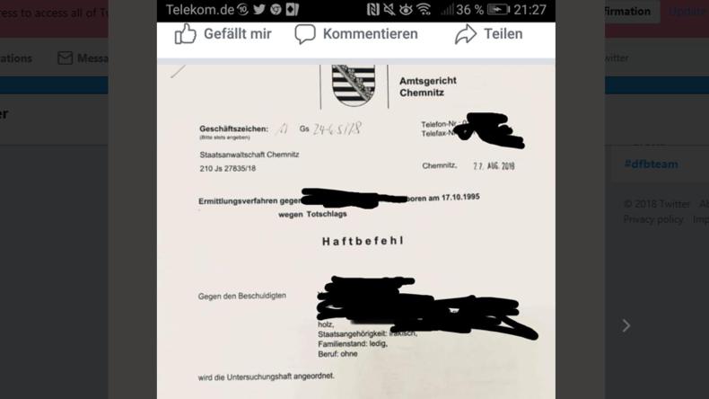 Pro Chemnitz postet geleakten Haftbefehl gegen tatverdächtigen Iraker