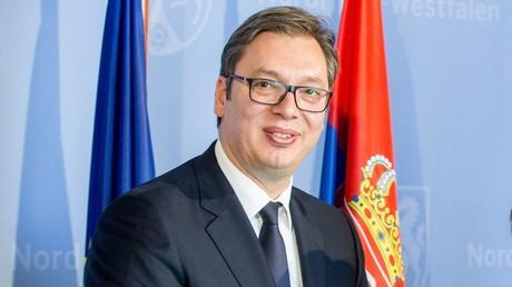Aleksandar Vucic beim Empfang durch NRW-Ministerpräsident Armin Laschet, 15. Mai 2018, Düsseldorf.