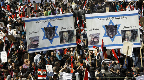 Syrer protestieren mit Plakaten: