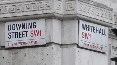 Ecke des Hauses zwischen Downing Street und Whitehall Street