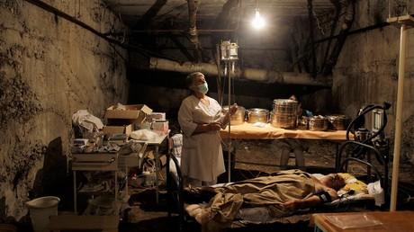 Eine unterirdische Intensivstation in Zchinwali am 10. August 2008.