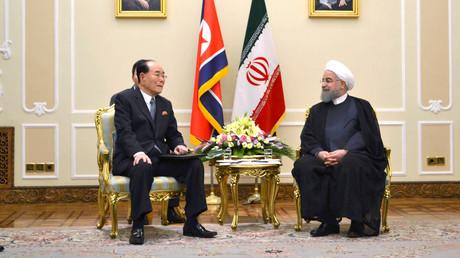 Symbolbild: Kim Yong-nam (nordkoreanischer Parlamentspräsident) und der iranische Präsident Hassan Rohani bei einem Treffen in Teheran, Iran, 7. August 2017.
