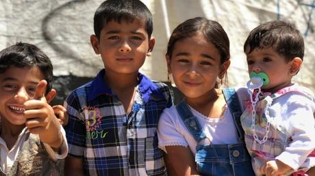 Syrische Flüchtlingskinder in einem Zeltcamp in der Bekaa-Ebene im Libanon am 11. August 2018.