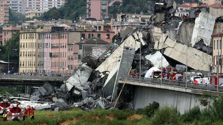 Die eingestürzte Morandi-Brücke in der italienischen Hafenstadt Genua, Italien, 14. August 2018.