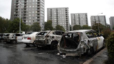 Ausgebrannte Autos in Göteborg, Schweden, 14. August 2018.