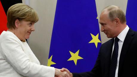 Angela Merkel und Wladimir Putin in Sotschi, Russland, 18. Mai 2018.