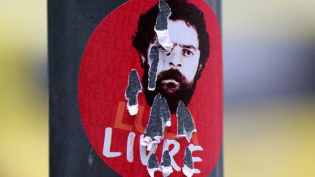 Ein Aufkleber mit der Darstellung des ehemaligen brasilianischen Präsidenten Luiz Inacio Lula da Silva: