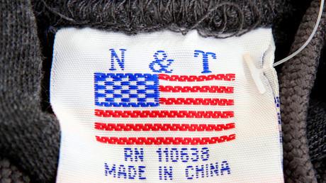 Das Label eines Washington DC. Pullovers mit der Aufschrift
