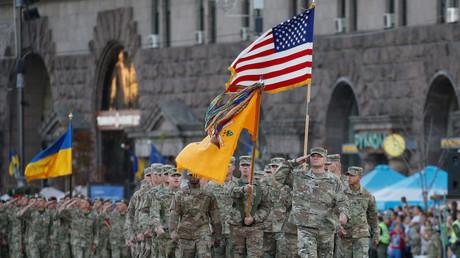 US-Soldaten marschieren während der Probe zum Unabhängigkeitstag der Ukraine am 22. August 2018 in Kiew