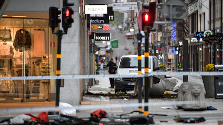 Ort des Terroranschlags ein Tag nach dem Attentat, Drottningsgatan, Stockholm, Schweden, 8. April 2017.